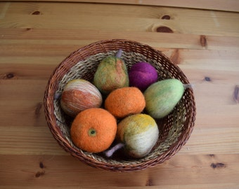Fruits- apples, pears, tangerines and plums. Felting