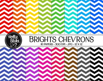 Buy 1 Get 1 Free!! 16 Bright Chevron Digital Paper • Rainbow Digital Paper • Commercial Use • Instant Download • #CHEVRON-103-B