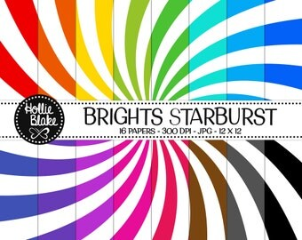 Buy 1 Get 1 Free!! 16 Bright Starburst Digital Paper • Rainbow Digital Paper • Commercial Use • Instant Download • #STARBURST-102-B