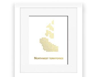 Gold Foil Northwest Territories Map,Northwest Territories Map, Northwest Territories dot map, Gold Foil Map,Northwest Territories wall decor