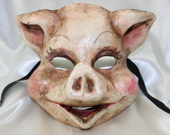 Deluxe Handpainted Realistic Pig Full Face Animal Venetian Masquerade Mask 090