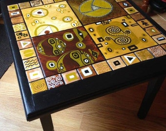 Up-Cycled bespoke hand-painted Klimt inspired coffee table
