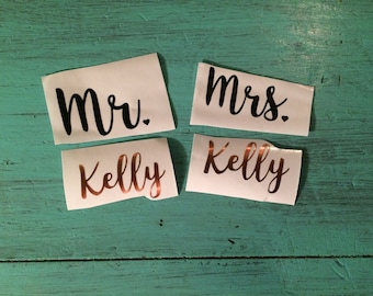 Mr & Mrs Last Name Custom Wedding Vinyl Decals