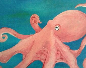 Octopus canvas, sea octopus, acrylic canvas octopus, sea painting, canvas 11.8x9.8 sea animals