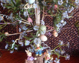 Vintage Assorted Easter eggs and Easter Egg tree display.