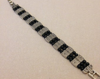 Vintage Silver and Black Bead Bracelet