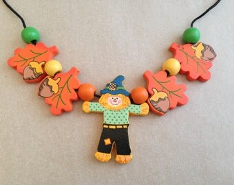 Vintage Scarecrow Seasonal Necklace
