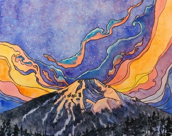 SALE,Mt Bachelor,ORIGINAL watercolor, mountain art,sunrise,landscape art,pen and ink,Bend,Portland,Oregon,outdoors,mountains,nature,abstract