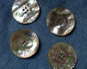 4 vintage carved shell coat buttons