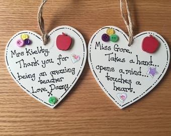 Personalised Teacher Heart plaque, Teaching Assistant plaque, Teachers thank you gift, end of term gift.