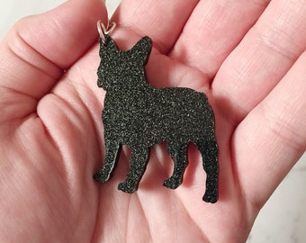 French Bulldog Key Ring, French Bulldog Key Chain, French Bulldog Bag Tag, French Bulldog, Frenchie, Black, Black Shimmer, Bulldog, Dog