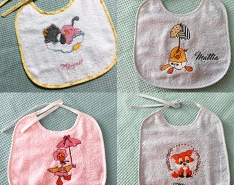 Handmade bibs embroidered with drawing + name in pure Turkish cotton towels and waterproof bottom