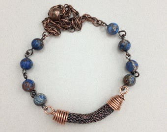 Boho viking knit copper agate blue planet bead throne necklace