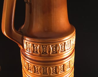 Large West German FLOOR VASE - Scheurich - Brown / Yellow / 429-45