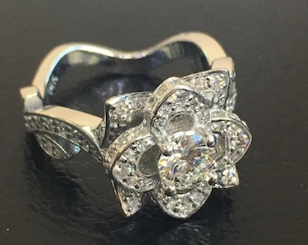 14k Rose Design diamond engagement ring