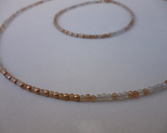 Set bracelet and necklace from Moonstone and silver-gilt Rosé