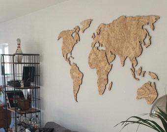 Steel Trends Wooden Worldmap