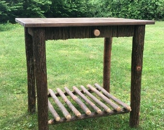 Rustic Hickory Log Side Table
