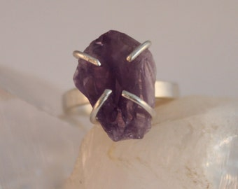 Natural Amethyst Crystal Sterling Silver Ring Size 7.5