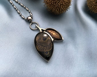 Leaves Necklace Flora Pendant  Pearls Resin Jewelry