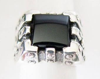 Chess Silver Ring WithOnyx Stone