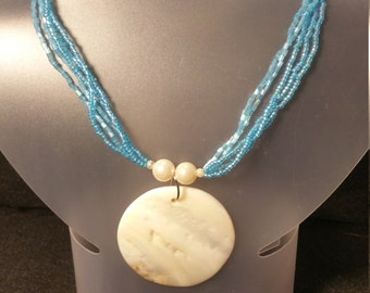Blue seed beaded mother of pearl necklace