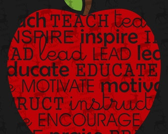 Teacher Apple Wordart, Digital File, SVG, DXF, EPS, for use with Silhouette Studio and Cricut Design Space