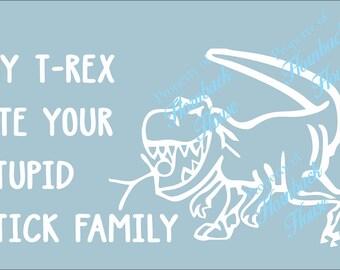 Stick family funny etsy for T rex family