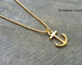 Anchor gold-plated chain, maritime chain, anchor necklace, anchor, chain gift girlfriend, golden chain, minimalist chain, goldener Anker