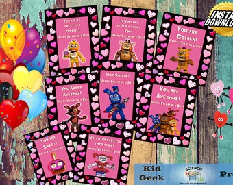 Set of 8 Five Nights at Freddy's FNAF Valentine's day cards!