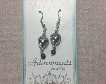Green Acorn Earrings