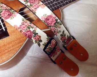 NuovoDesign Ukulele strap cream color floral fabric leather connector with end pin