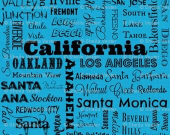 California Cities fabric - Fat Quarter - aqua blue and black - grey and black