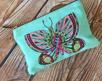 Monogram or Name Butterfly cosmetic canvas bag