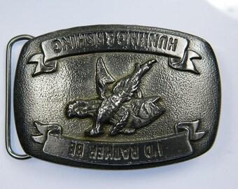 I'd Rather be Hunting Fishing Fisherman Hunter Bass Pheasant Sport Outdoorsman Belt Buckle