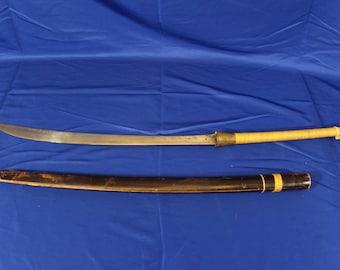 "Antique Burmese Dha Sword 34"" long with Sheath"