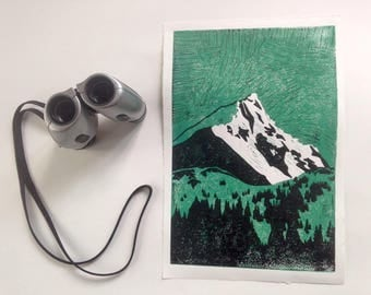 Lino print, mountain