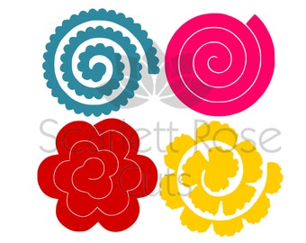 Rolled paper roses etsy for Rolled paper roses template
