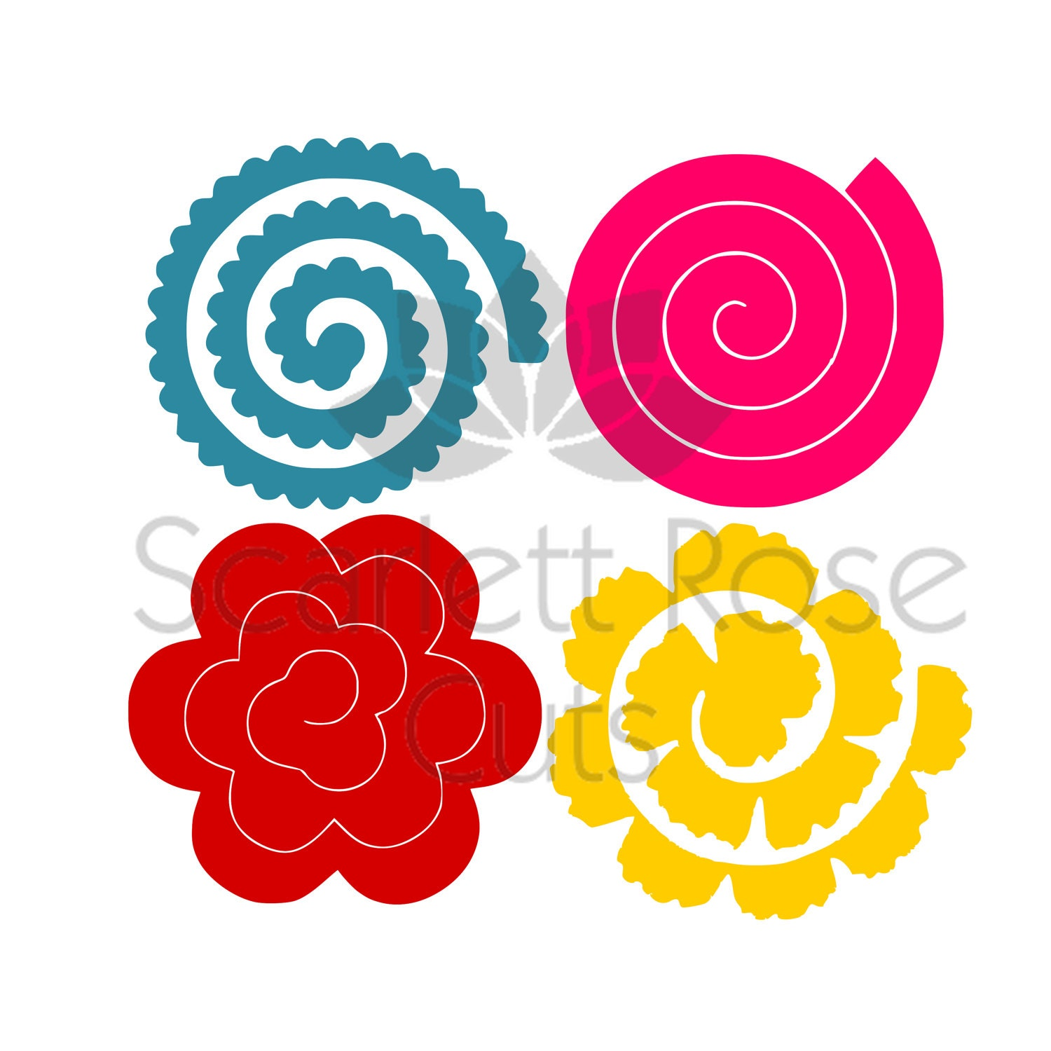Rolled paper flowers svg 3d templates for Rolled paper roses template