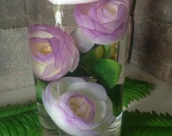 Submerged silk flower centerpiece, 3 Light Purple Tip Ranunculus Silk Flowers for DIY submerged centerpiece,  Ranunculus silk flower  head