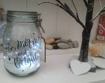 Merry and Bright Light up Jar