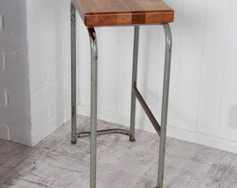 Up-cycled School Chemistry Lab Stool with the seat replaced and now repurposed