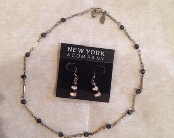 A matching necklace and earrings/free shipping
