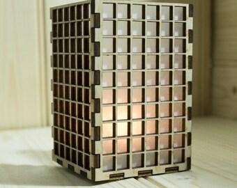 Laser cut square tea light