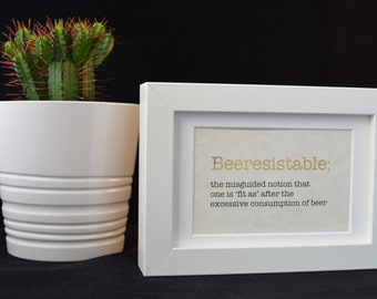 Urban Dictionary Wall Art / Beeresistable Definition / Dictionary Art / Funny Definition / Word Art
