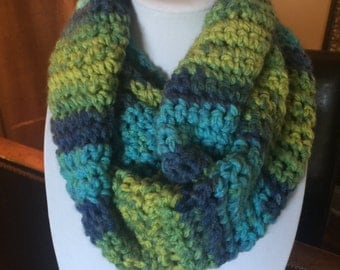 Super Soft and Ultra Warm Crochet Infinity Multi-Color Blue and Green Scarf