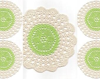 Set Of 5 Crocheted Doilies Crochet Medallions Assortment Mini Doily Boho Crafts Flower Dream Catcher Decorative Tea Time Coasters Home Decor