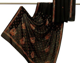 100% Indian Vintage Saree Georgette Embroidered Black Craft Sarong Sari Used Scrap Fabric 5 YD VGR6146