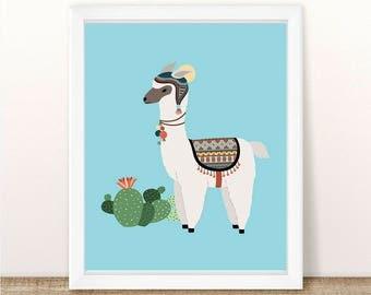 PRINTABLE Llama and Cactus, Instant Download, Digital File, Llama Printable, Cactus Printable, Cactus Wall Print, Llama Wall Print, Alpaca