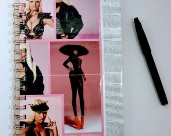 Nicki Minaj Notebook, small journal, unique journal, cool journal, cool notebook, unique journal, lined journal, small lined journal,fan art